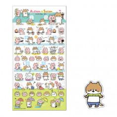 Planche de plus de 55 Stickers avec comme thème  les Chats A-Chan et Susan dans diverses scènes.